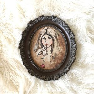 Signed Oil Painting Boho Woman Holding Rose Oval